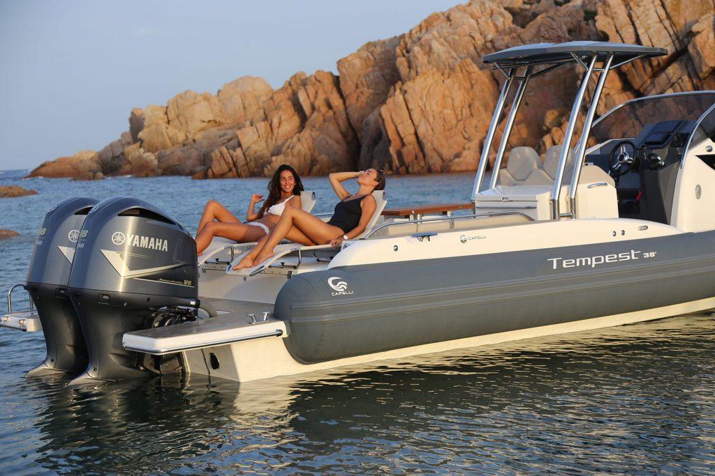 Girls sunbathing on a boat