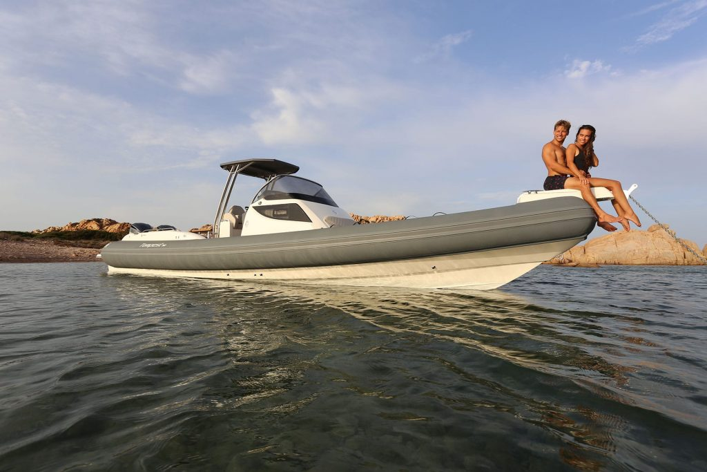 Man and woman on a rib boat